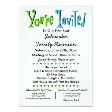 GenealogyGreetings Fun Family Reunion Party or Event Invitation
