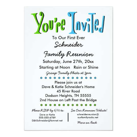 Fun Family Reunion Party Or Event Invitation  ZazzleCom
