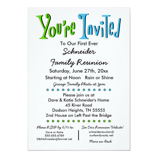 Attractive Fun Family Reunion Party Or Event Invitation