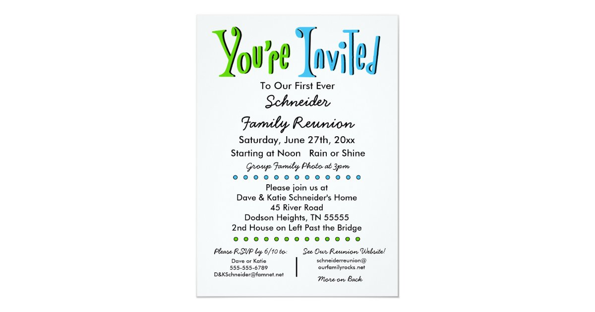 Funny family reunion invitation wording fun family reunion party or event invitation zazzle stopboris Images