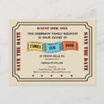 """Fun Family Reunion Ticket to Save the Date Announcement Postcard<br><div class=""""desc"""">Yellow,  blue and orange tickets on a ticket family reunion save the date postcard.  Your """"ticket"""" to family,  fun and food at your family's reunion.  A fun reminder to save the date!  See lots more save the date postcards at Genealogy Greetings* here at Zazzle. There's a direct link below.</div>"""
