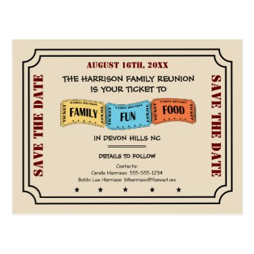 reunions Fun Family Reunion Ticket to Save the Date Postcard