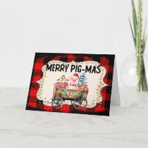 Fun Farm Pig Merry Christmas Card