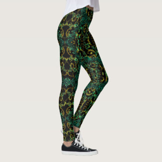 Fun  Fashion Leggings -Women --Teal/Gold/Black