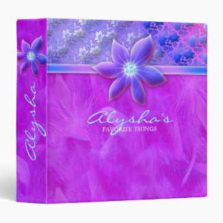 Fun Fashion School Binder Violet Boa Lace Flower