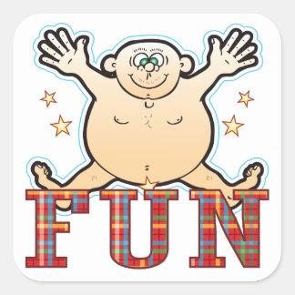 Fun Fat Man Square Sticker