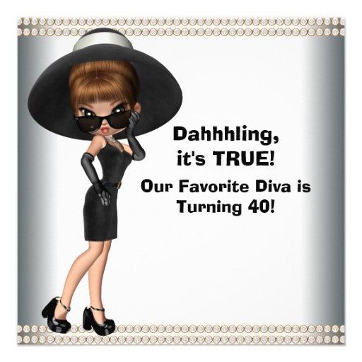Fun Favorite Diva Womans 40th Birthday Party Custom Invitation