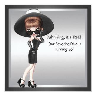 Fun Favorite Diva Womans Black 40th Birthday Card