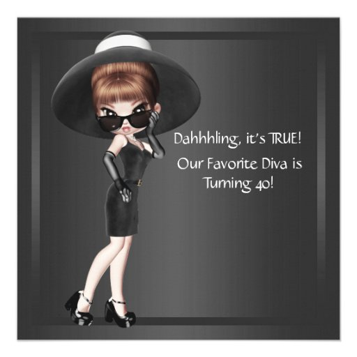 Fun Favorite Diva Womans Black 40th Birthday Party Personalized Announcements