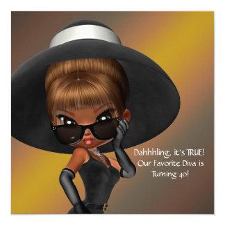 Fun Favorite Diva Womans Black 40th Birthday Party 5.25x5.25 Square Paper Invitation Card