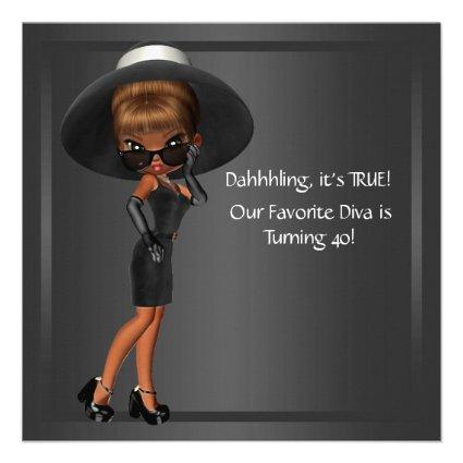 Fun Favorite Diva Womans Black 40th Birthday Party Custom Announcement