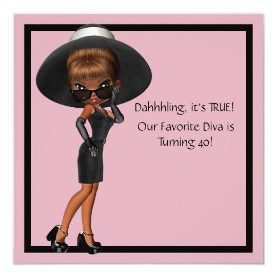 Fun Favorite Diva Womans Black 40th Birthday Party Invitation