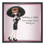 Fun Favorite Diva Womans Pink Black 40th Birthday Card
