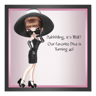 Fun Favorite Diva Womans Pink Black 40th Birthday Card