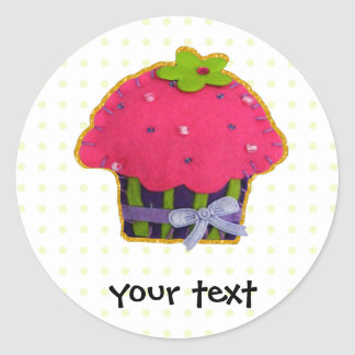 Fun felt glitter cupcake classic round sticker