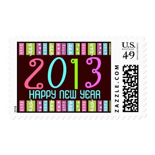 Fun Festive Bright Happy New Year Celebration Postage