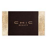 Shop business cards business cards for makeup artists fun festive brown linen faux gold sequin beauty business cards colourmoves