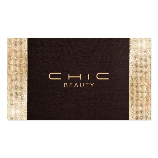 Fun Festive Brown Linen FAUX Gold Sequin Beauty Business Cards