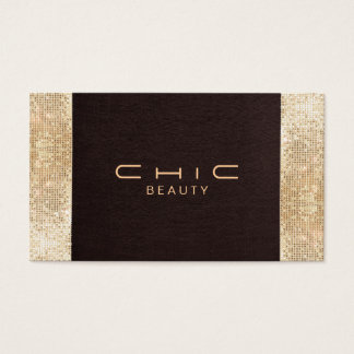 Fun Festive Brown Linen FAUX Gold Sequin Beauty Business Card