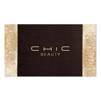Fun Festive Brown Linen FAUX Gold Sequin Beauty Double-Sided Standard Business Cards (Pack Of 100)