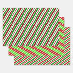 [ Thumbnail: Fun & Festive Christmas Colors Striped Pattern Wrapping Paper Sheets ]
