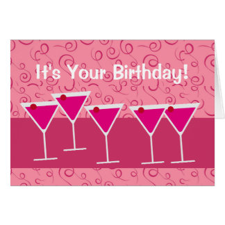 Fun Festive Cocktail Martini Glass Birthday Drinks Card