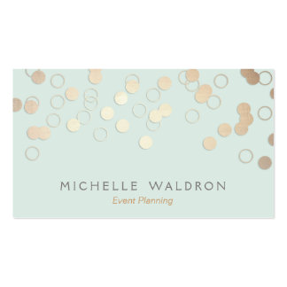 Fun Festive Gold Confetti Event Planner Light Blue Double-Sided Standard Business Cards (Pack Of 100)