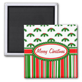 Fun, Festive Holly and Stripes Patterns 2 Inch Square Magnet