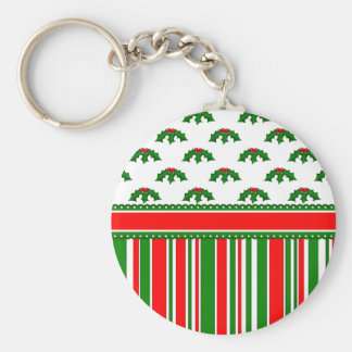 Fun, Festive Holly and Stripes Patterns Basic Round Button Keychain