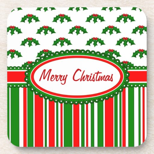 Fun, Festive Holly and Stripes Patterns Beverage Coasters