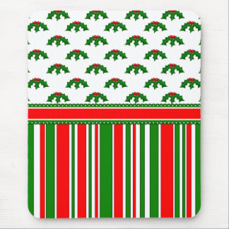 Fun, Festive Holly and Stripes Patterns Mouse Pad