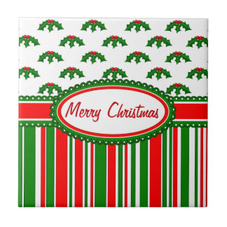 Fun, Festive Holly and Stripes Patterns Tile