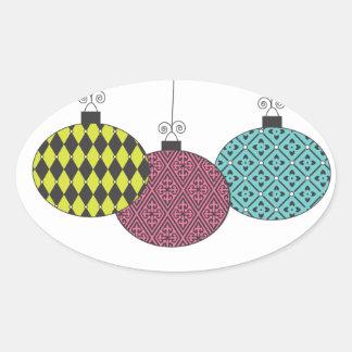 Fun Festive Modern Patterned Ornaments Sticker