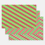 [ Thumbnail: Fun & Festive Red, White & Green Christmas Stripes Wrapping Paper Sheets ]