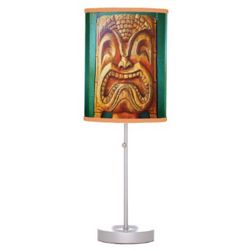 Hawaiian Themed Fun, fierce, vintage retro wood tiki face photo desk lamp