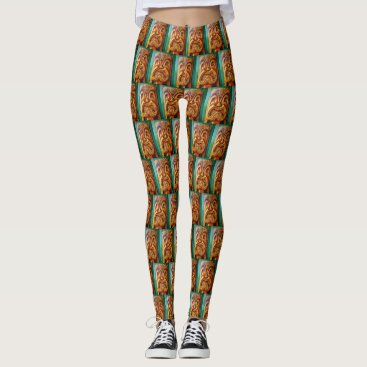 Hawaiian Themed Fun, fierce, vintage retro wood tiki face photo leggings