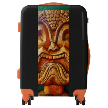 Hawaiian Themed Fun, fierce, vintage retro wood tiki face photo luggage