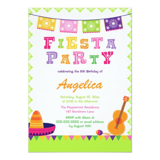 fun fiesta party colorful birthday invitation | zazzle, Birthday invitations