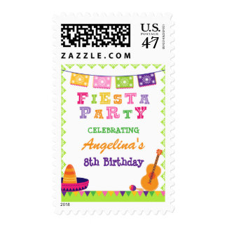 Fun fiesta party colorful birthday postage stamps