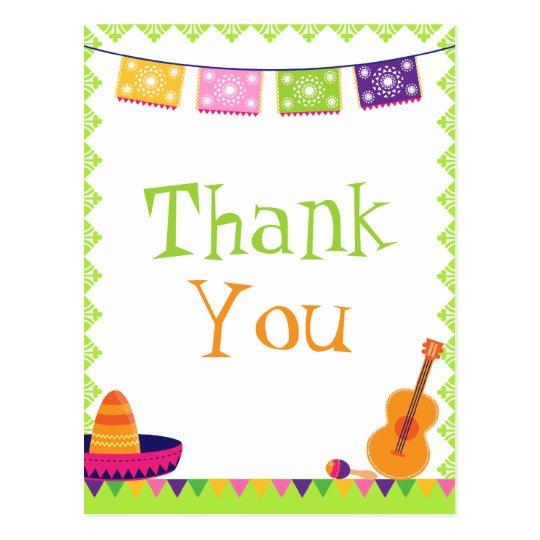 fun fiesta party colorful birthday thank you card  zazzle
