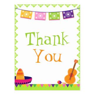 Fun fiesta party colorful birthday thank you card postcard