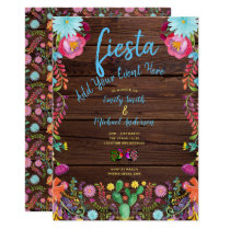 Fun Fiesta Watercolor Folk Flowers Couples Invite