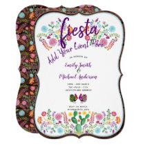 Fun Fiesta Watercolor Folk Flowers Couples Invites