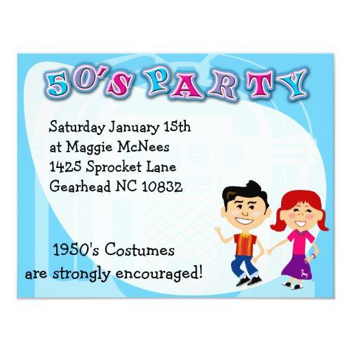 """Fun Fifties Party Invite 4.25"""" X 5.5"""" Invitation Card"""