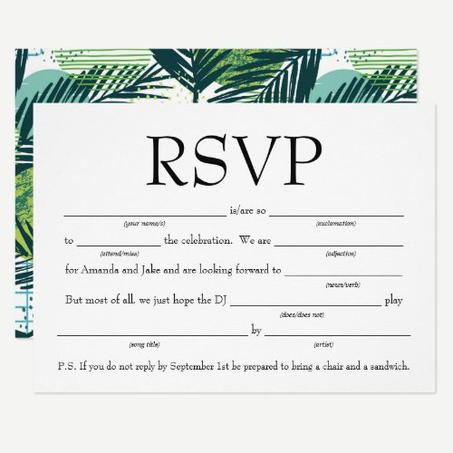 Fun Fill-in-the-Blank RSVP w/Song Request Invitation