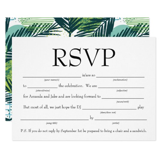 Fun Wedding Rsvp Card Wording: Fun Fill-in-the-Blank RSVP W/Song Request Invitation