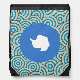 Fun Filled, Round flag of Antarctica Drawstring Bag