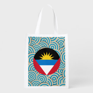 Fun Filled, Round flag of Antigua and Barbuda Reusable Grocery Bag
