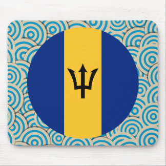 Fun Filled, Round flag of Barbados Mouse Pad