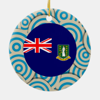 Fun Filled, Round flag of British Virgin Islands Double-Sided Ceramic Round Christmas Ornament